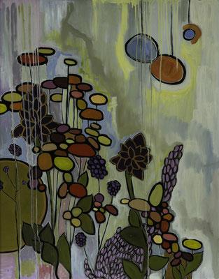 """""""Florales"""", Öl auf Hartfaser, gerahmt, 100x80cm, 2016"""