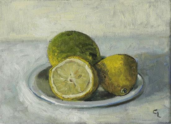 """""""Zitronen"""", Öl auf Leinwand, 13x18cm, 2020"""