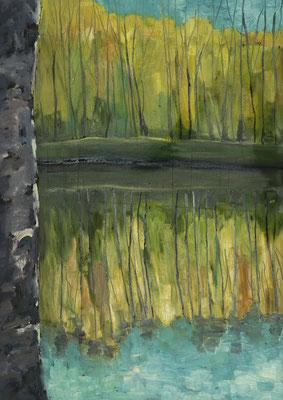 """""""Im Spreewald"""", Öl auf Hartfaser, gerahmt, 50x70cm, 2018"""