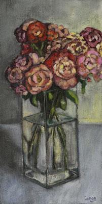 """""""Rosen 1"""", Öl auf Rupfen, 100x50cm, gerahmt, 2017"""