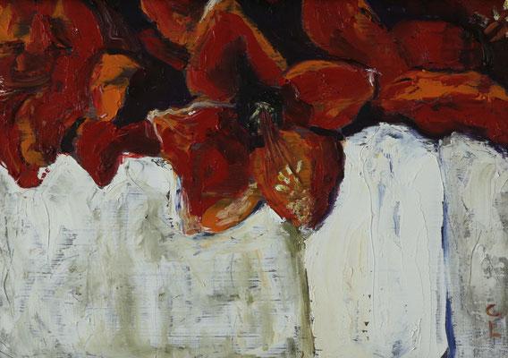 """""""rote Amaryllis"""", Öl auf Hartfaser, gerahmt, 22x31cm, 2018"""