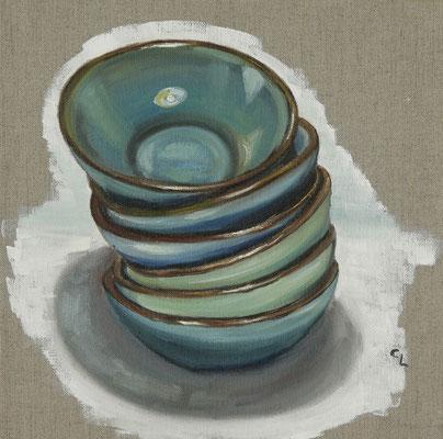 """""""Schalen in blau"""", Öl auf Leinen, 30x30cm, 2020"""