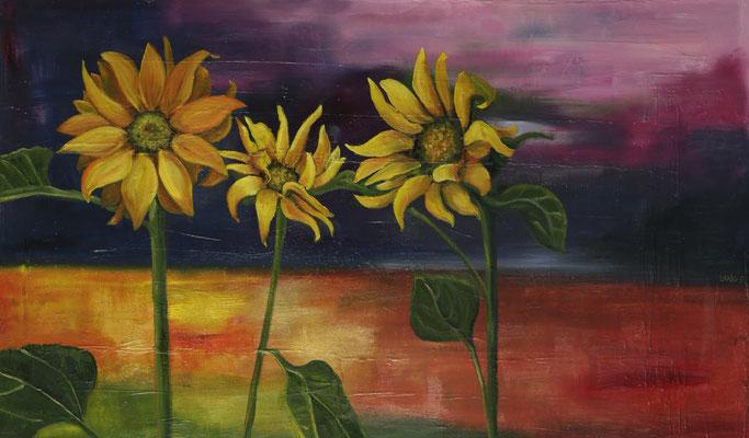 """""""Sonnenblumen am Abend"""", Öl auf Leinwand, 60x100cm, 2017"""