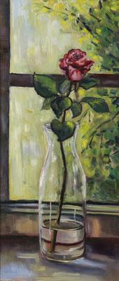 """""""Rose im Fenster"""", Öl auf Hartfaser, gerahmt, 68x30cm, 2018"""