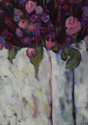 """""""Blumengruß aus Radebeul"""", Öl auf Leinwand, gerahmt, 70x50cm, 2017"""
