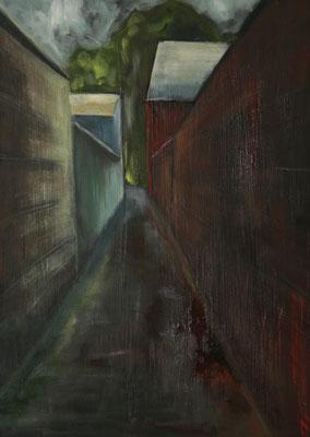 """Gasse in Frankenheim"", Öl auf Leinwand, 70x50cm, 2017"