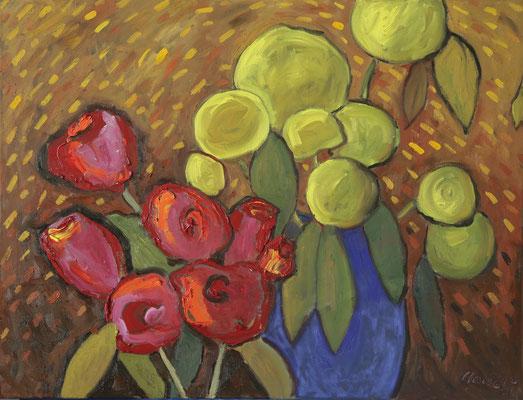 """""""Blumenregen"""", Öl auf Leinwand, 50x60cm, 2020"""