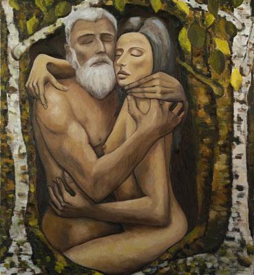 """""""Liebe ist alles 1"""", Öl auf Leinen, 110x100cm, 2020"""
