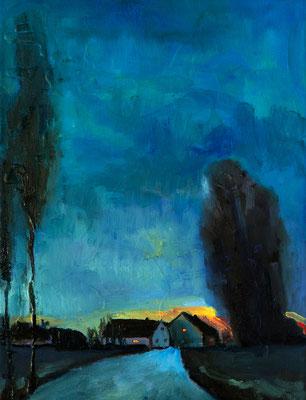 """""""Licht am Abendhimmel"""", Öl auf Leinwand, 40x30cm, 2018"""