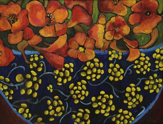 """""""Blütenschale"""", Öl auf Hartfaser, gerahmt, 60x80cm, 2019"""