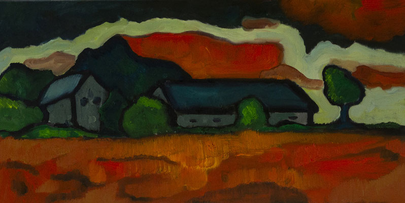 """""""expressionistische LandschaftII"""", Öl auf Leinwand, 30x60cm, 2020"""