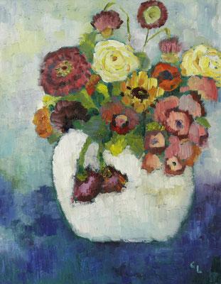 """""""Blumen"""", Öl auf Hartfaser, gerahmt, 50x40cm, 2019"""