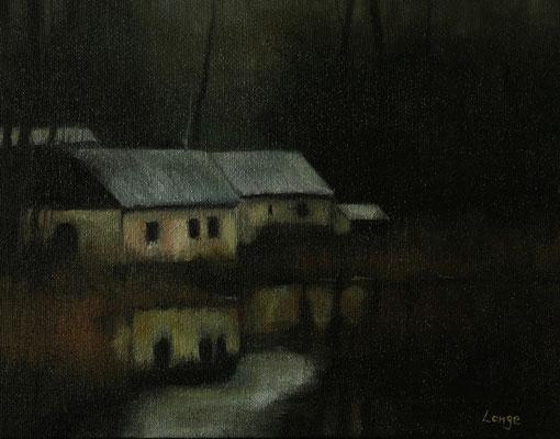 """""""Kulkwitzer See"""", Öl auf Rupfen, gerahmt, 50x60cm, 2017"""