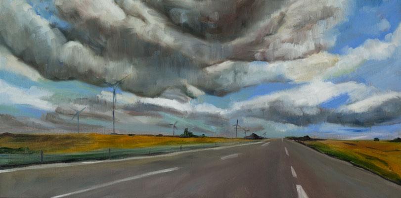 """""""""""Autobahn"""", Öl auf Leinwand, 40x80cm, 2018"""