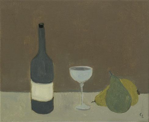 """""""Stillleben mit Weinflasche und Birnen"""", Öl auf Leinwand, 20x30cm, 2020"""