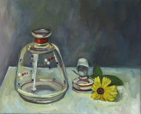 """""""Glas und Ringelblume"""", öl auf Leinwand, 23x30cm, 2018"""