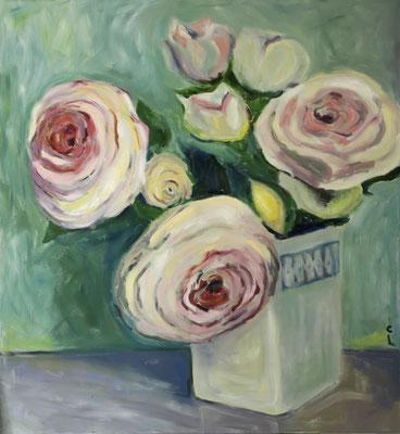 """""""Rosa Rosen"""", Öl auf Leinwand, 150x150cm, 2017"""