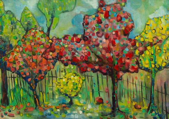 """""""In meinem Garten"""", Öl auf Leinwand, 50x70 cm, 2019"""
