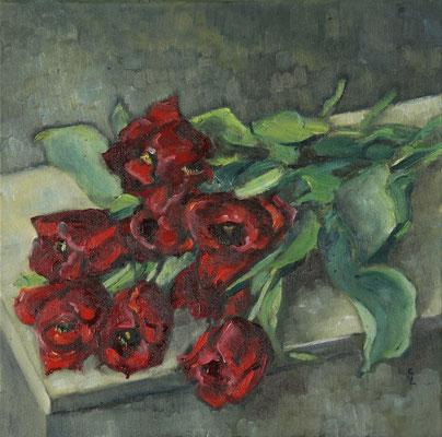 """""""Liegende Tulpen"""", Öl auf Leinwand, 40x40cm, 2020"""