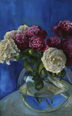 """""""Weiße und rosenrote Pfingstblumen"""", Öl auf Leinwand, gerahmt. 133x80cm, 2017"""