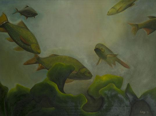 """""""Unter Wasser"""", Öl auf Leinwand, 80x100cm, 2017"""