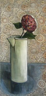"""""""Hortensie im weißen Krug"""", Öl auf Stoff, 130x60cm, 2017"""