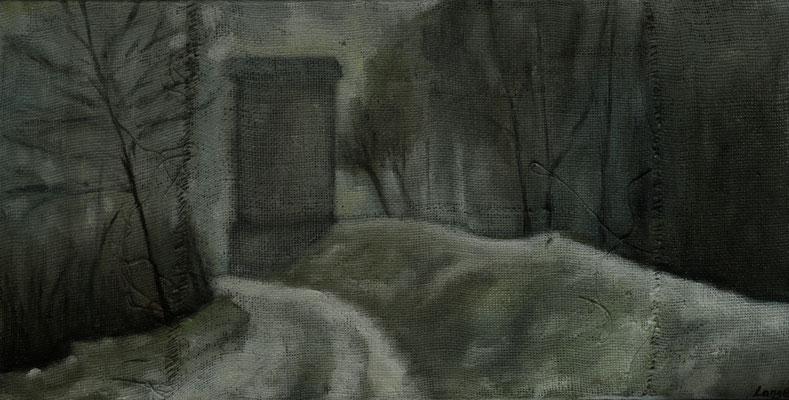"""""""Winter am Kanal"""", Öl auf Rupfen, 50x100cm, gerahmt, 2016"""