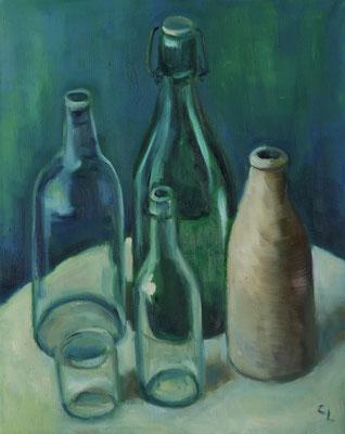 """""""Flaschen"""", Öl auf Leinwand, 50x40cm, 2020"""