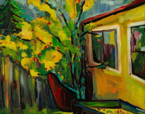 """""""Hinter meinem Atelier"""", Öl auf Leinwand, geramt, 40x30 cm, 2018"""