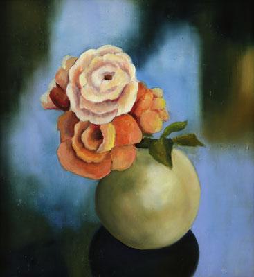 """""""3 Rosen"""", Öl auf Hartfaser, gerahmt, 53x47cm, 2017"""