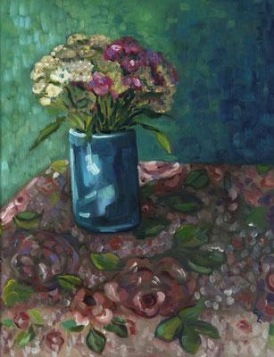 """""""Blütendecke"""", Öl auf Hartfaser, gerahmt, 47x37cm, 2018"""