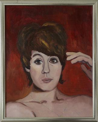 """""""Frau mit Kette"""", Öl auf Hartfaser, gerahmt, 49x38cm, 2019"""