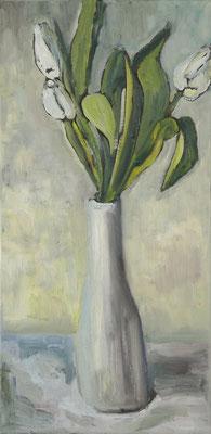 """""""weiße Tulpen"""", Öl auf Leinwand, 60x30cm"""