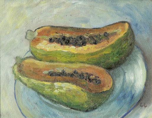 """Papaya"", Öl auf Hartfaser, gerahmt, 13x18cm, 2020"