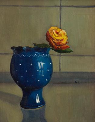 """Rose im Bürgeltopf"", Öl auf Hartfaser, gerahmt, 31x25cm, 2018"