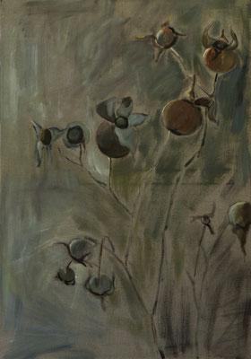 """""""Verblüht"""", Öl auf Leinen, 100x80cm, 2017"""