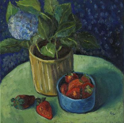 """""""Stillleben mit Erdbeeren"""", Öl auf Leinwand, 40x40cm, 2020"""