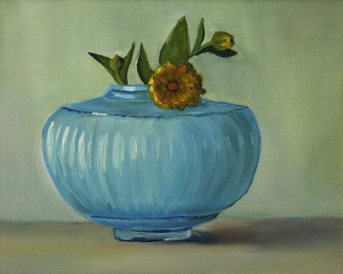 """""""Franziskas Vase"""", Öl auf Hartfaser, gerahmt, 24x30cm, 2018"""