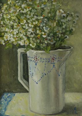 """""""Rodaer Blumen"""", Öl auf Hartfaser, gerahmt, 40x30cm, 2020"""