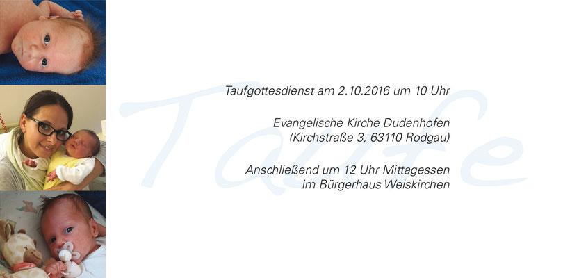 Einladungskarten & Danksagungen zur Taufe von Grafikdesignerin Esther Meyer