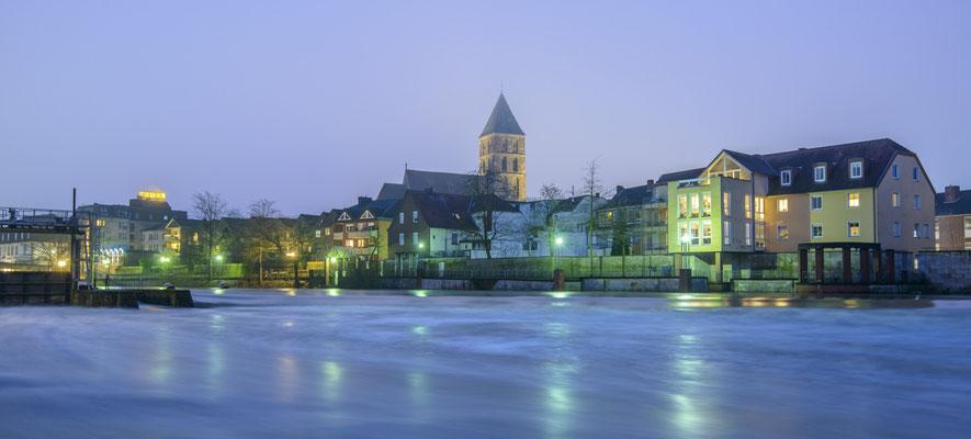 Rheine Emswehr und Blick auf die Altstadt