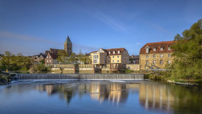 Rheine Emswehr und Altstadtpanorama