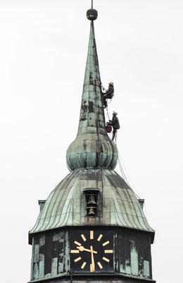 Arbeiten am Kirchturm St. Martinus Greven.
