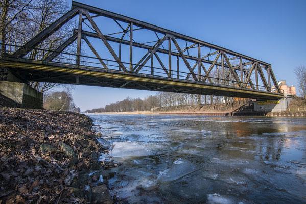 Rheine Kanalhafen Eisgang Tecklenburger Nordbahn Brücke
