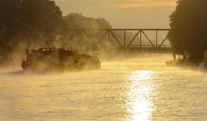 Rheine DEK Sonnenaufgang Kanalhafen