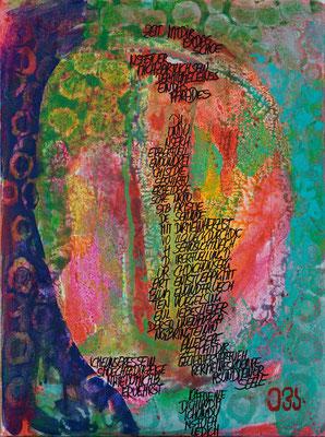 Der Poet - Gedanken 2 / Mischtechnik auf Leinwand 30x40 cm