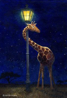 Giraffe und Laterne, Acryl, 2010