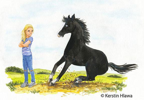 Probeillu für ein Pferdebuch, Pigmentfarbe, 2016