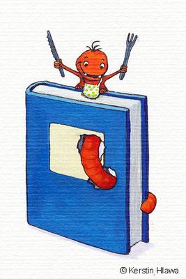 Bücherwurm, Aquarell, 2010