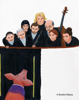 """Bild aus """"Amanda. Das Schwein im Orchestergraben"""", Schott Verlag, Acryl, 2011"""
